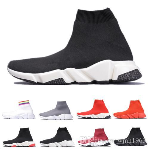 Новый Paris Speed Trainer Stretch Knit Mid Повседневная обувь для носков Мужские женские тройные черные белые Oreo модные роскошные дизайнерские туфли des chaussures