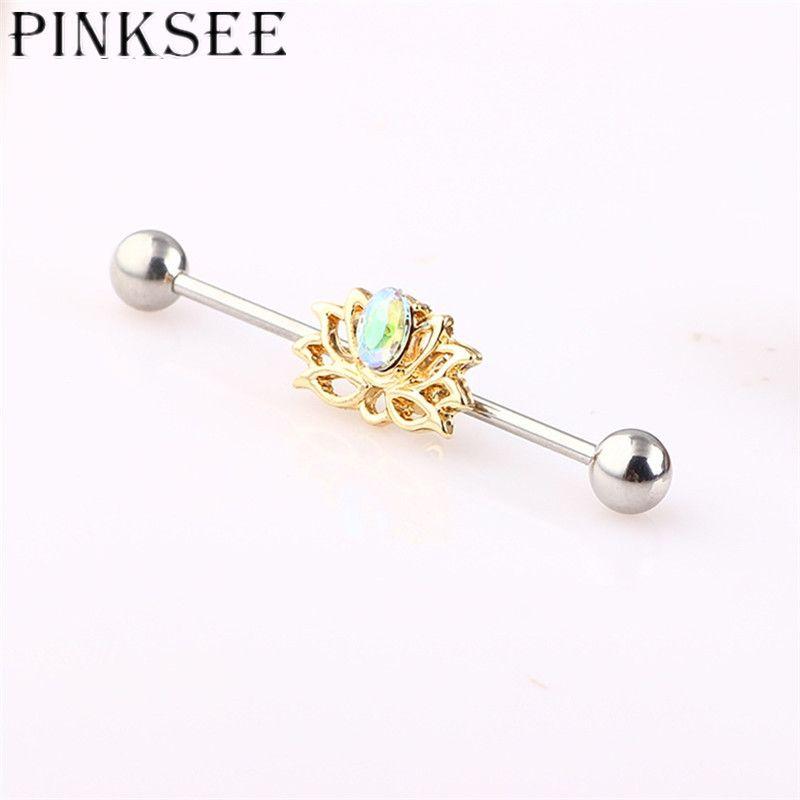 Pinksee Mode élégant Lotus Oreille Cartilage Helix longue Barbell industrielle en acier inoxydable Boucle d'oreille Piercing Bijoux droite