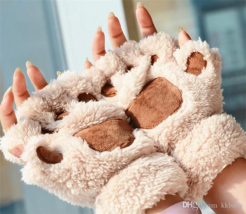 النساء فتاة الأطفال الشتاء أصابع منفوش القطيفة قفازات القفازات هالوين عيد مرحلة الدعامة تأثيري القط الدب باو المخلب قفاز حزب