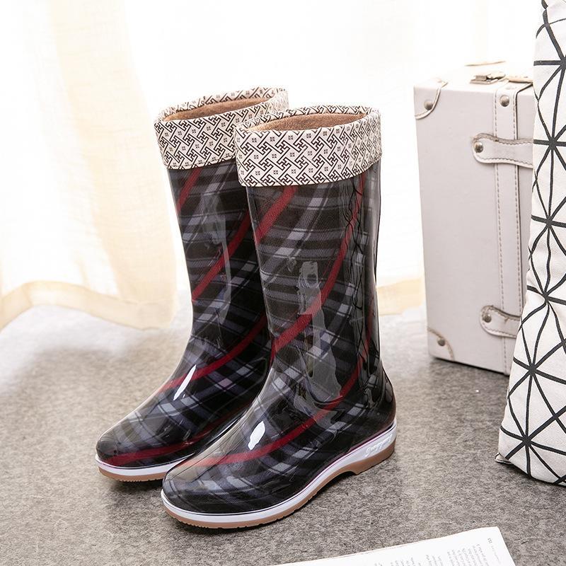 pattini impermeabili Mid stivali polpaccio di pioggia donne nuove scarpe da pioggia ragazze cunei di alta cima stivali donna 2020 yuj7