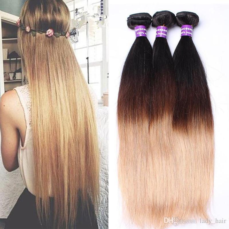 9A Brésil Ombre humaine Cheveux 3Bundles Silky droite Extensions cheveux 1b / 4/27 Vierge brésilienne Trois Tone Couleur des cheveux Tissages Livraison gratuite
