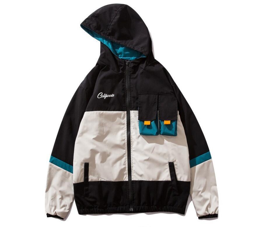 Vestes Manteaux abrivent poches capuche Patchwork Oversize Hip Hop Harajuku Zipper Streetwear Vestes cargo Japonais