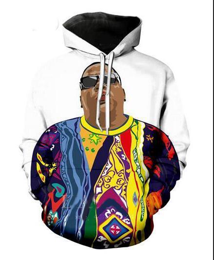 Nueva moda Harajuku estilo 3D impresión Hoodies Biggie Smalls hombres mujeres otoño e invierno sudadera Hoodies abrigos BWQ0224
