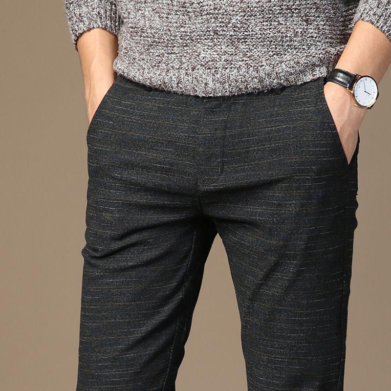 2018 Herbst-neue Art Männer Casual Hosen Cotton Linen Stripes koreanischen Stil Bleistifthosen-Versatile Jugend beiläufigen Männer
