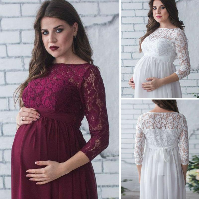 UK Maternity Maxi Dresses Pregnant Women Photography Props Fancy Dress Clothes