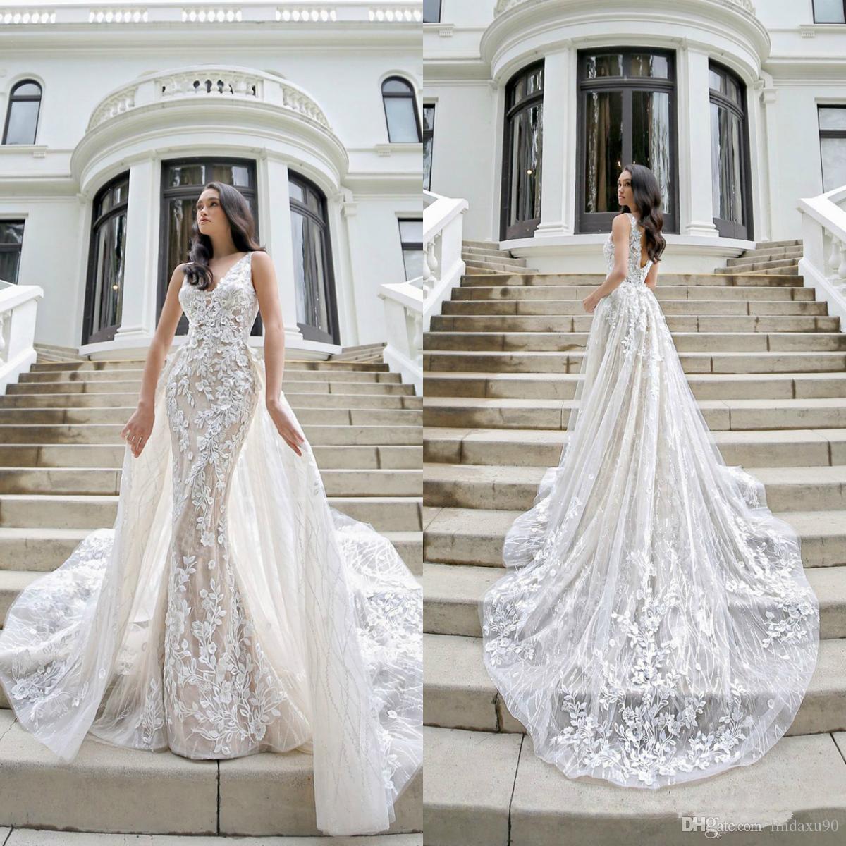 Gorgeous 2020 Русалка Свадебные платья Съемный поезд V шеи Кружева Аппликации Arabic Страна Стиль Свадебные платья