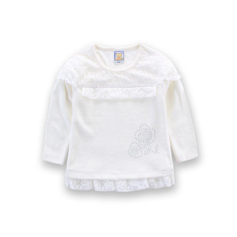 Printemps et Automne Velour Chemisier Girls Lace Mode 3 pcs / lot Blouse petites Q Vêtements de bébé Vêtements enfants