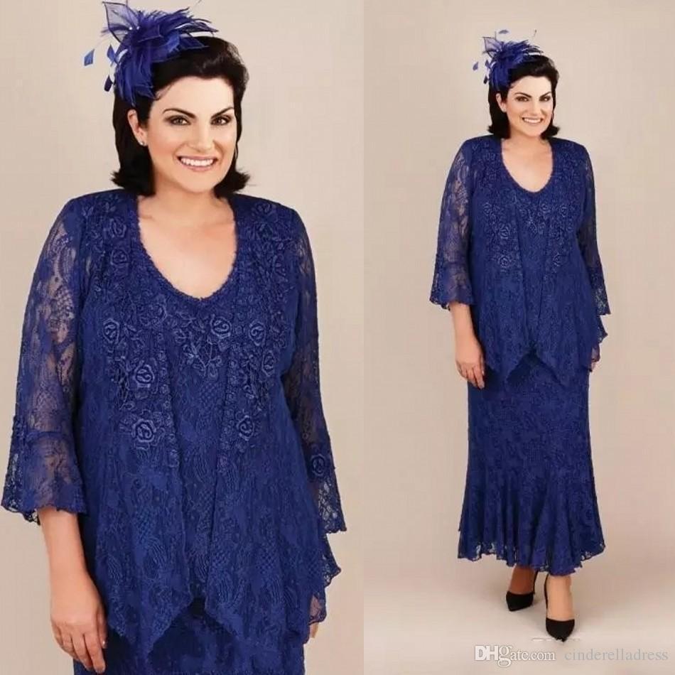 Modern anne gelin elbiseler kraliyet mavi mermaid dantel anneler düğün konuk elbise ankele uzunluğu artı boyutu anne damat abiye