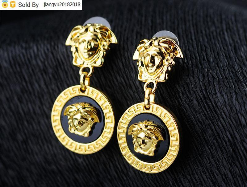 Christmas Gift High Quality diamond Pendant Earrings Metal Gold head Earring Jewelry With Box