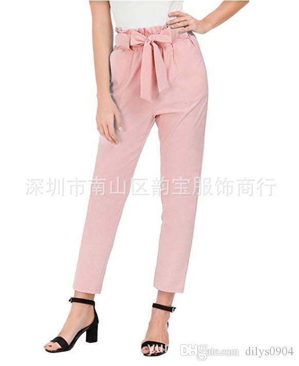 Außenhandel Europäische und amerikanische heiße verkaufende Frauen Dekoration Höhe Taille gerades Rohr Freizeit Neunte Hose Baumwolle mit einem Gürtel rosa
