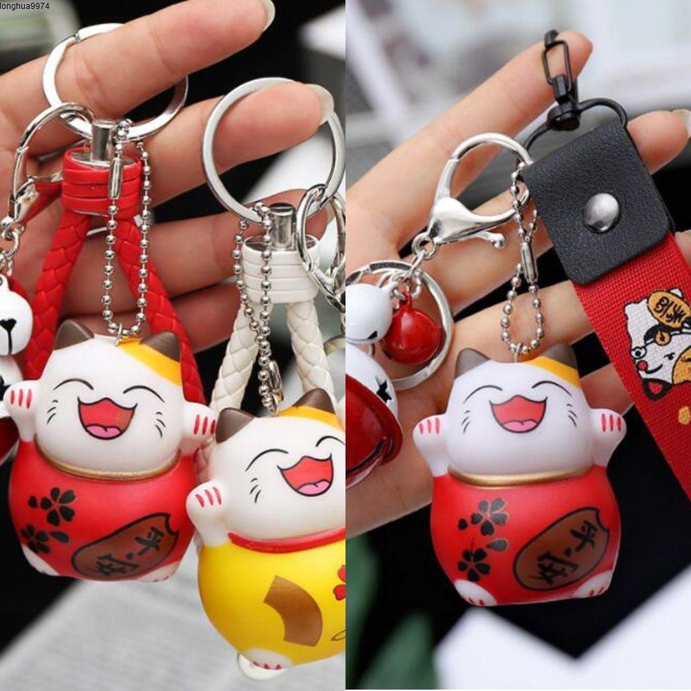 10pcs Vermögens-Katze Schlüsselanhänger Glück 2020 zuwinkende Katze Bell-Keychain-Cartoon-Tier Schlüsselanhänger Auto-hängende Schmucksache-Frauen-Geschenk