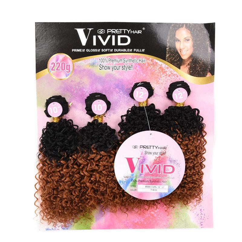 Do cabelo consideravelmente VÍVIDAS 4 Pacotes Bebe Curl10 10 12 12 weave do cabelo suave e brilho como feixes de tecelagem de cabelo humano sintéticos
