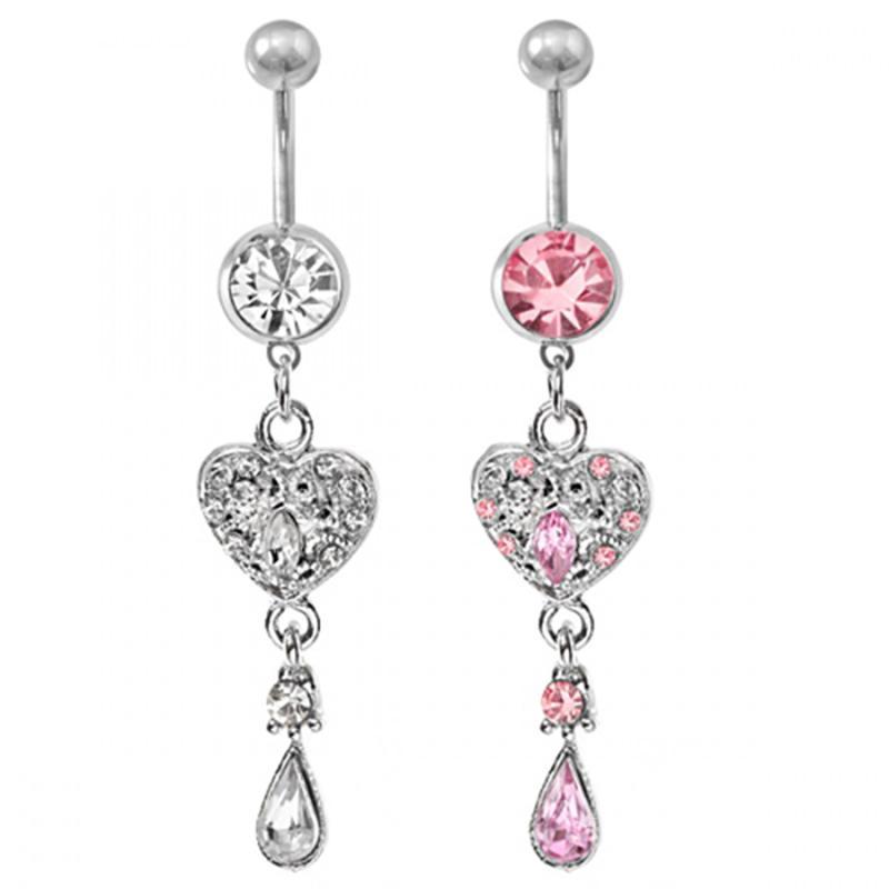 D0349 (4 colores) Estilo de corazón Anillos de ombligo Botón de vientre Body Piercing Jewelry Accesorios Cuello Moda encantos (10pcs / lot) JFB-7216