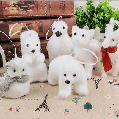 Kawaii Animals Christmas Pendant decorations Bear/Fox/Penguin/Squirrel/Owl/Deer Doll Toy Christmas Tree Hanging Ornaments Xmas Gift EEA396