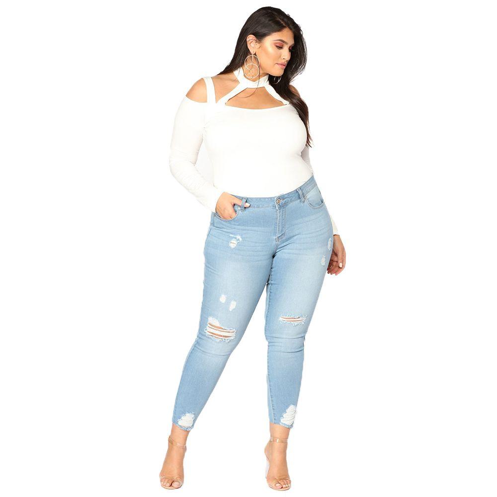 Verano Moda Jeans mujer Plug Tamaño del estiramiento elástico Washed Denim Jeans de mujeres Casual agujeros Calle Mujeres