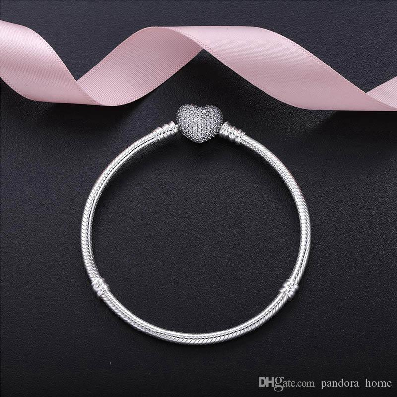 رومانسية على شكل قلب فاخر مصمم CZ سوار الماس لباندورا 925 فضة مزاج سيدة العظام سوار هدية العيد