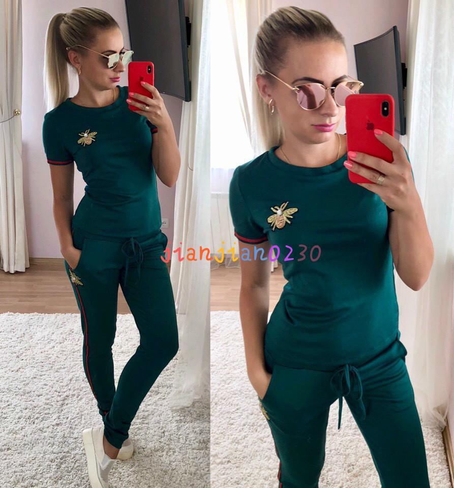 Nueva europeos y ropa de mujer transfronterizos estadounidenses exclusivamente para la alta gama casual impresa mujer traje de ropa deportiva DH71723