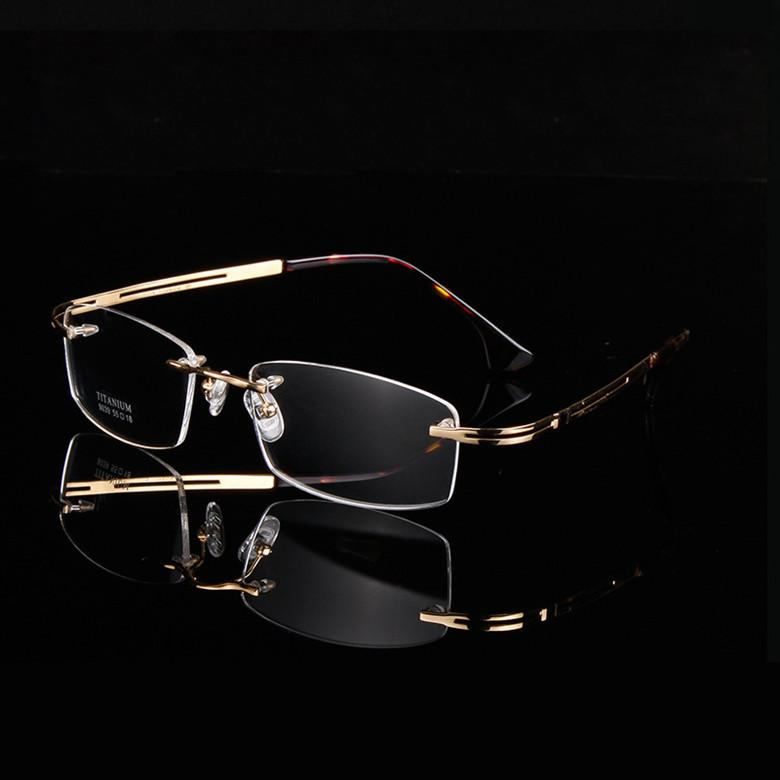 الفاخرة الكلاسيكية A + الذهب بدون شفة النظارات خفيفة للغاية 9039 الذاكرة الصرفة التيتانيوم الأعمال بدون شفة الرجال كبير مربع إطار النظارات الطبية