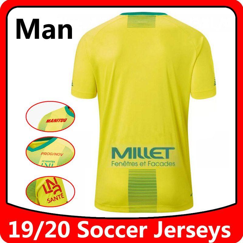 2019 2020 FC Nantes adultos Jerseys de fútbol para adultos Camisa amarilla para el hogar 19 20 FC Nantes para hombre Sala Coulibaly Waris Blas Camisa de fútbol Camisa corriendo Jerseys
