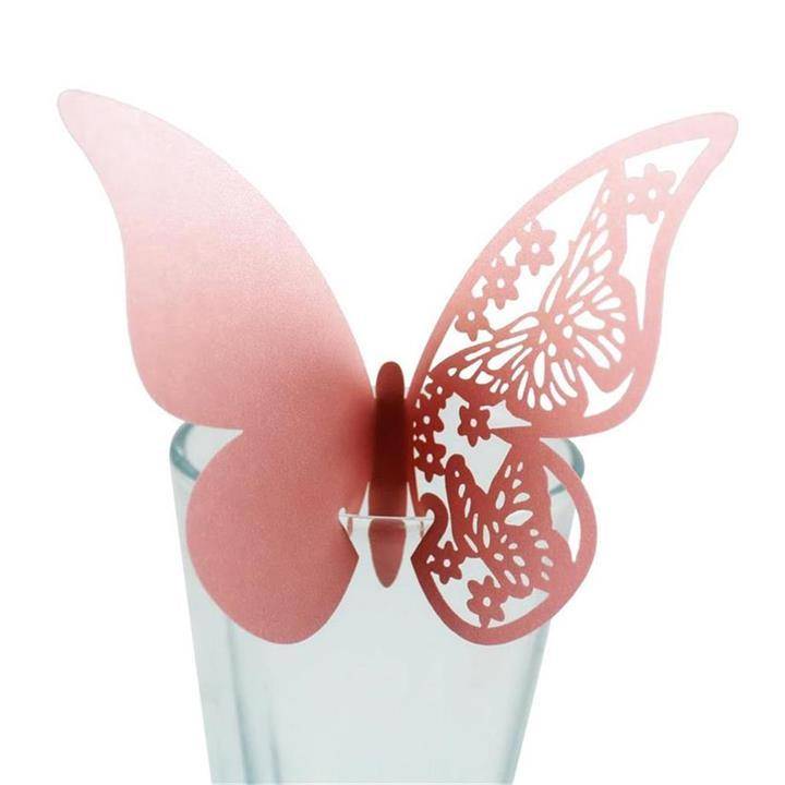 100pcs/lot Butterfly Laser Cut Paper Place Card Escort Cup Card Wine Glass Card for Wedding Party Decoration
