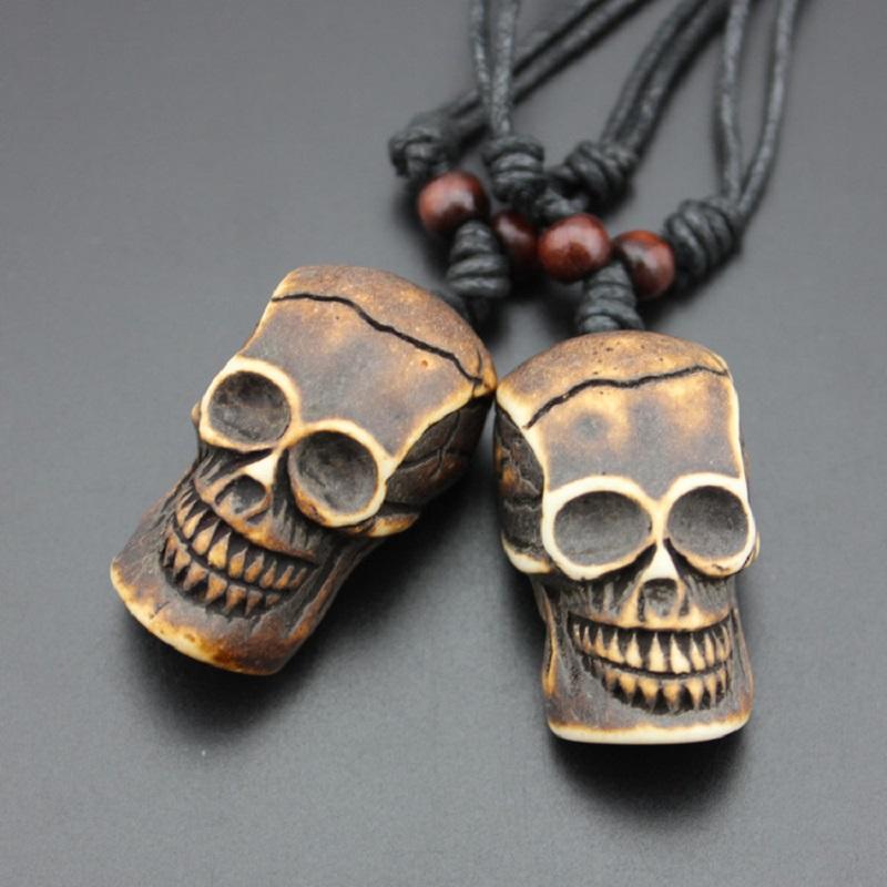 Resina skull Colares do Gothic Choker Vintage Hip Hop Charme Stratent Mulheres Colar Homens Jóia presente Decor Halloween Party