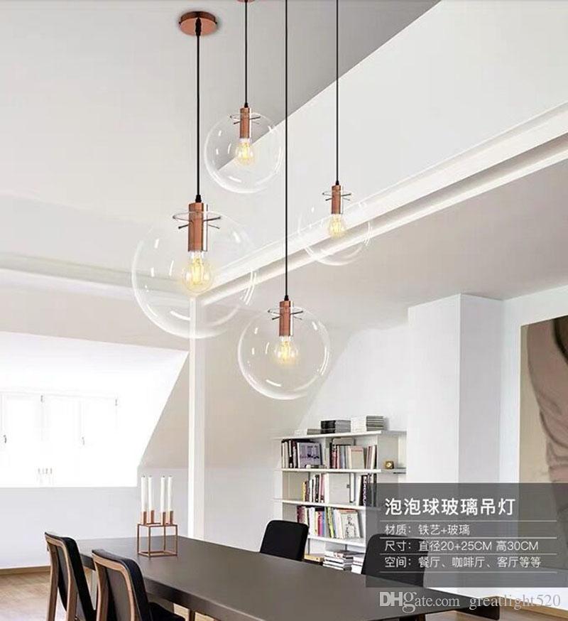 Verre récent Nordic Light pendentif boule d'éclairage clair Suspension Lustre Bubble Globe Lampe d'or / cuivre / couleur Noir