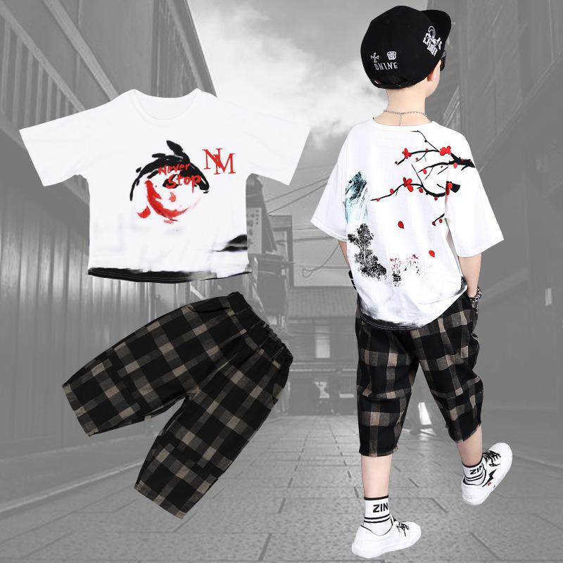 2 Sets Children's Clothing Boys Summer Clothes Hip-hop T-shirt Shorts New Baby Loose Sportswear Summer