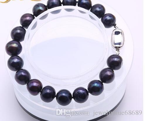 """Real 10-11mm encantos pulsera de perlas de agua dulce Negro Ronda mujeres hombres de la joyería 7.5"""""""