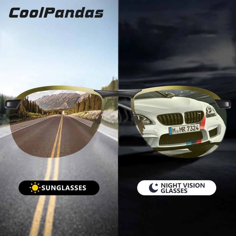 2020 neue Aluminiummagnesiumrahmen polarisierte Sonnenbrille Männer Day Night Vision Goggles Safe Driving Gläser gafas de sol hombre
