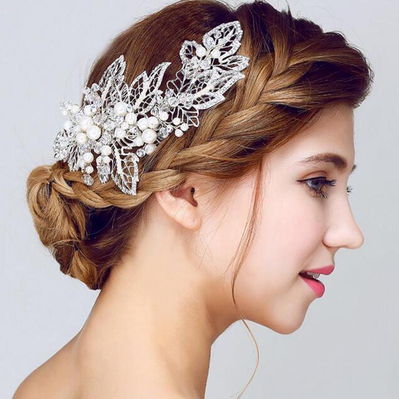 Moda de Nova Prata Tiaras Headbands Luxo Bandas pérolas cabelo de cristal para casamento mulheres noivas Crowns Cabelo Acessórios festa de jóias