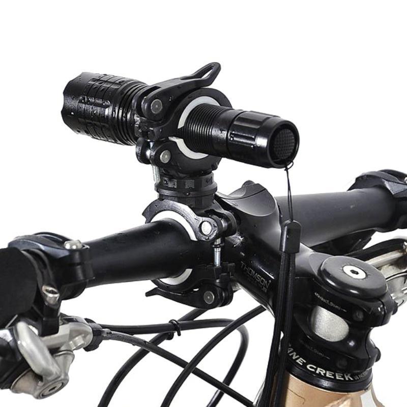 Bisiklet Bisiklet Bisiklet 360 Derece Döner Işık Çift Tutucu LED Ön Fener Lambası Pompa Gidon Tutucu MTB Aksesuarları