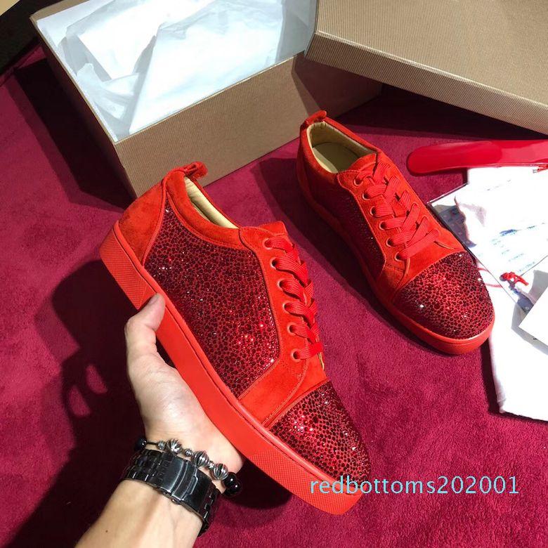 Designer scarpe da ginnastica rosse pattino inferiore Low Cut in pelle scamosciata picco Scarpe di lusso per uomini e donne scarpe da festa di nozze di cristallo in pelle scarpe da tennis AR01