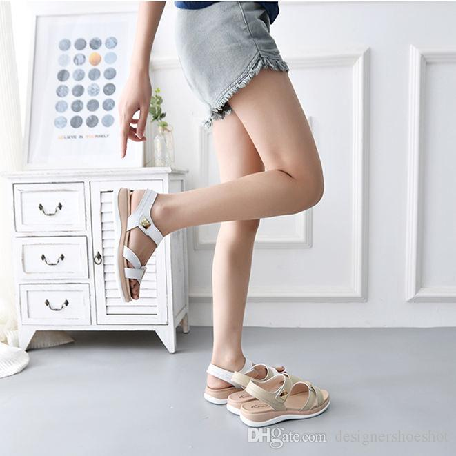 Lliang4 Rahat Klasik Kadın Deri Sandalet Moda Trendy Katırlar Sandalet Hafif Scuffs Kutusu ile Sıcak Satış Popüler