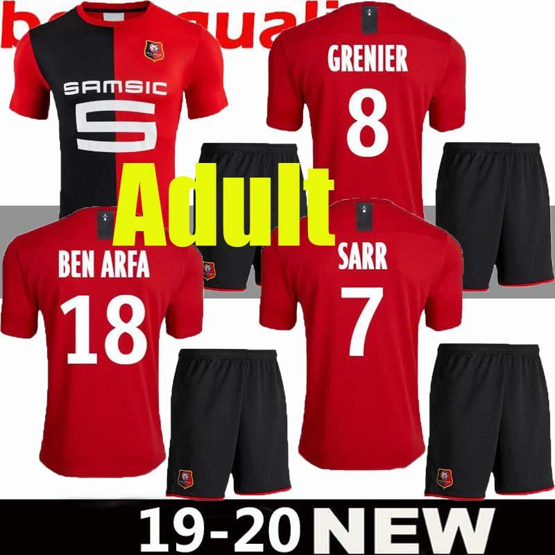 Adult Stade Rennais 2019 2020 SOCCER JERSEYS HOME RED BLACK STRIPE SARR 7 NIANG 11 BOURIGEAUD 14 ANDRE 21 2019 JERSEY AWAY FOOTBALL SHIRTS