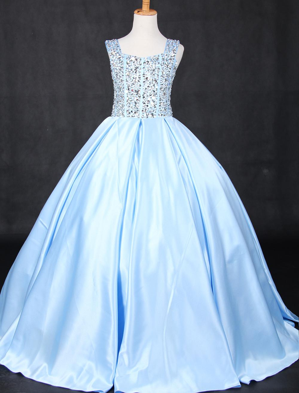 Belle Blue Green Satin Bretelles Perles Robes De Fille De Fleur Robes Princesse Robes Pageant De Fille Sur Mesure
