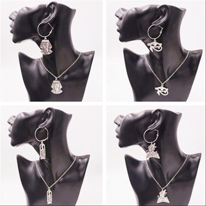 I risultati Artigianato faraone egiziano Cleopatra fascino retro orecchini della collana di stile del vestito Gioielli fai da te metallo per la donna P92