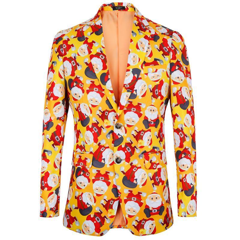 Jacke Anzug Happy Christmas 2020 neuer Blumendruck Mens Blazer Mode Einreiher Klagen Slim Fit Partei Blazer US Plus Size