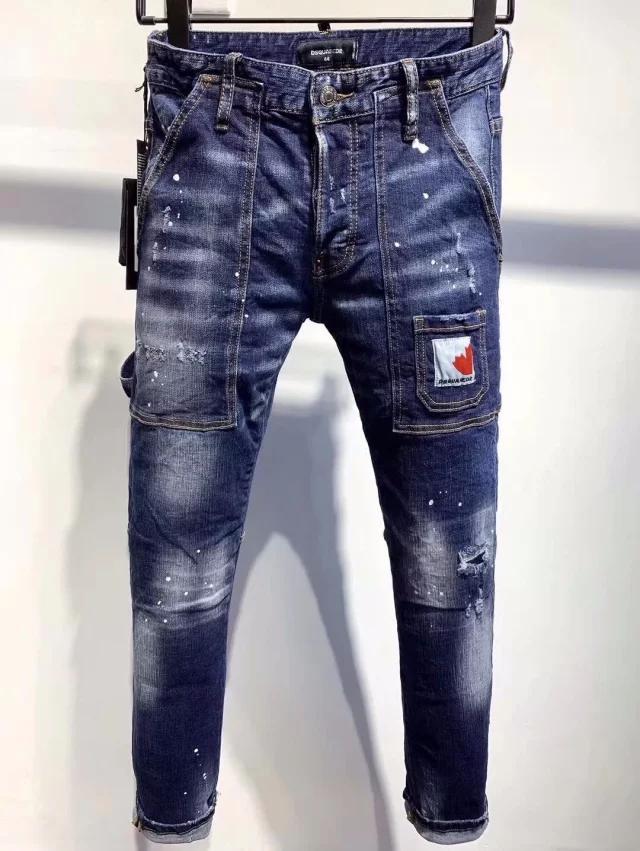 jeans uomo tendenza dei giovani di italiani sottile modo di qualità superiore dei jeans di personalità degli uomini degli uomini di lavaggio A9636 di alta qualità