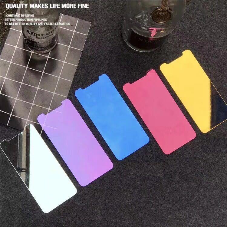 1 parça Renk aynalı temperli cam için iPhone X Xs Max Xr Ekran koruyucu iPhone 6 6 S 7 8 artı ayna koruyucu film