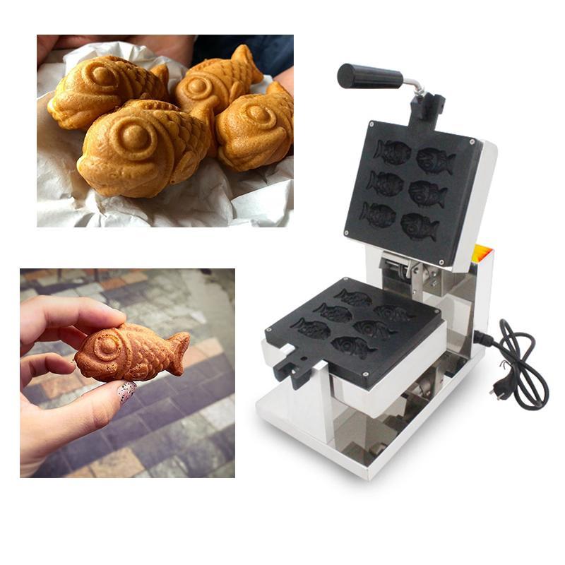 110 v 220 v yapışmaz Muhallebi Dolu Waffle Balıklar Makinesi Elektrikli Waffle Taiyaki Makinesi Demir Baker Balık Kek Yapma ...