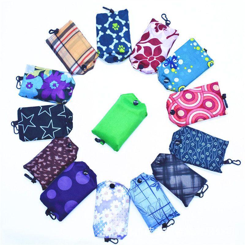 190T البوليستر أكياس التسوق قابلة لإعادة الاستخدام حقيبة تخزين قابلة للطي صديقة للبيئة قابلة للطي التسوق حمل الحقائب حقائب السيدات حقيبة يد هدية