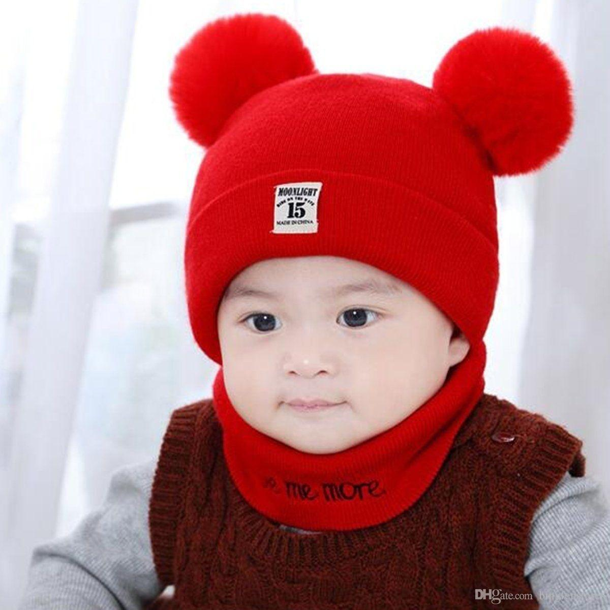 Autumn Winter Unisex Cute Kids Baby Toddler Infant Outdoor Cap Hat Beanie with Neck Circle Scarf Set