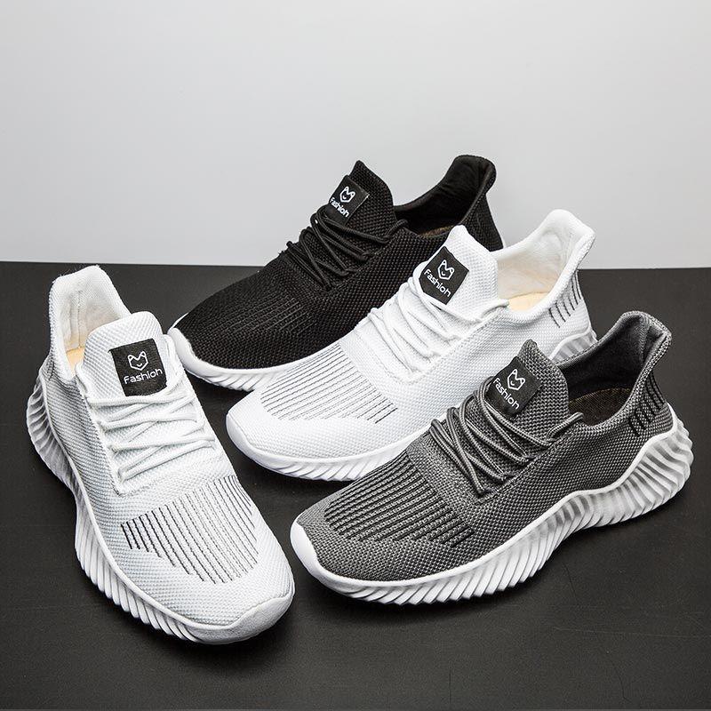Grande taille Sport Chaussures Homme Respirer Hommes Entraîneur Chaussures de sport Chaussures Homme Jogging Courir Arena Été Blanc A436