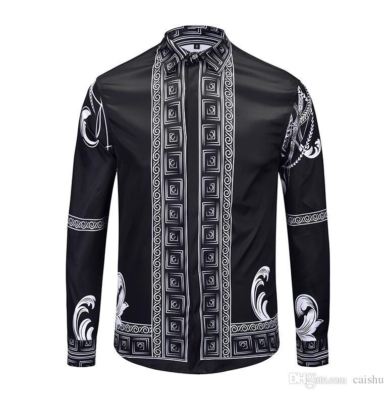 2018 nuevas camisas de algodón de primavera y otoño para hombre Medusa floral Retro Color impreso casual Harajuku lujo camisas de vestir para hombre