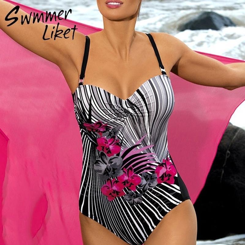 Vintage kadın tek parça bodysuits bikini 2019 biquini Artı boyutu mayo kadın monokini Yaz plaj kıyafeti XXL yukarı itin mayo