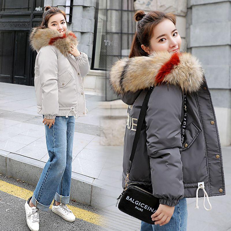 hot sell Winter Woman outwear Coats Large hair Hooded Long Sleeve Zipper Turtleneck short Wool & Blends Black Gray white Free Shipping
