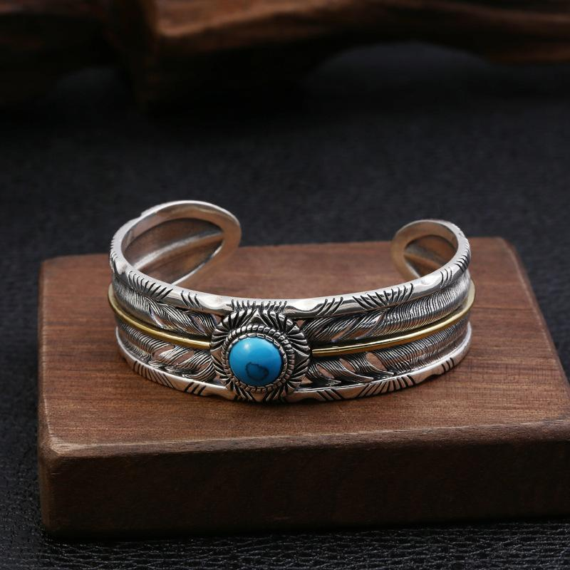 Personalized Brand new 925 sterling silver jewelry vintage Japanese antique silver hand-made designer feather hallow out bangle with stone