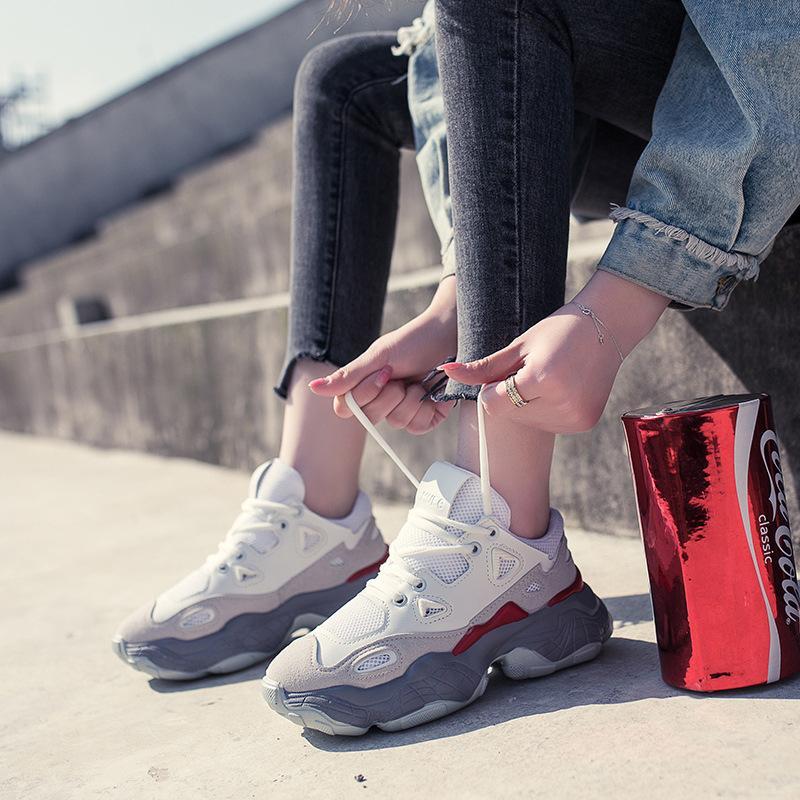 sapatos femininos 2019 desportivas nova primavera outono e selvagem Outono outono vermelho da sabedoria líquida fumados sapatos Super outono fogo' size 35-40