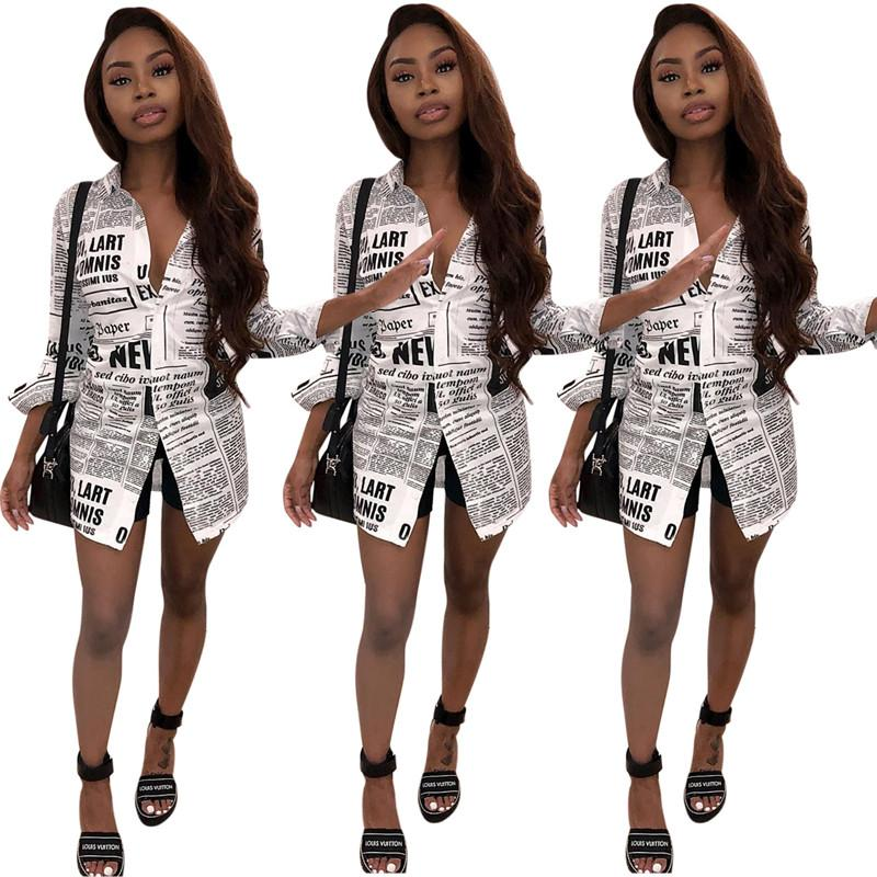 Düğmeler İnce Kadınlar Uzun Kollu Moda Giyim Yeni Yaz Kadın Harf Bluzlar Yaka Boyun Gömlek