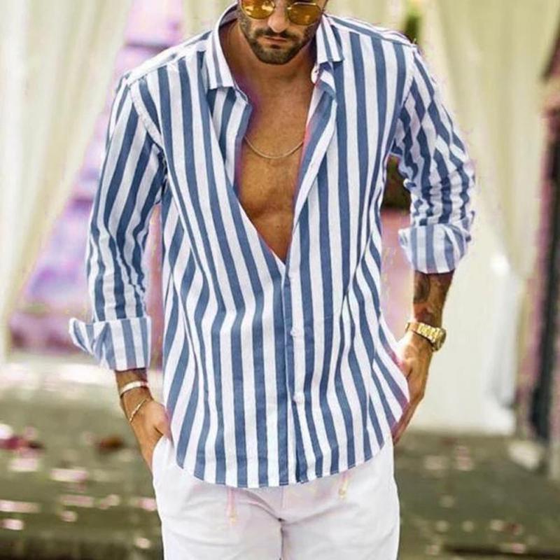 2020 nuevo de la manera cuello de cobertura del botón de las rayas verticales suelta de manga larga Camisa de los hombres Hombres sobre el tema del verano